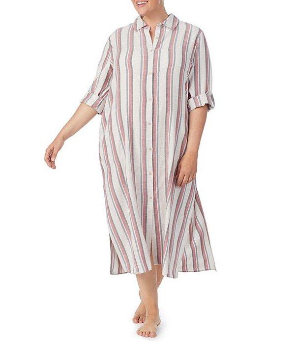 ダナキャラン レディース ナイトウェア アンダーウェア Plus Size Stripe Print Long Sleepshirt Multi