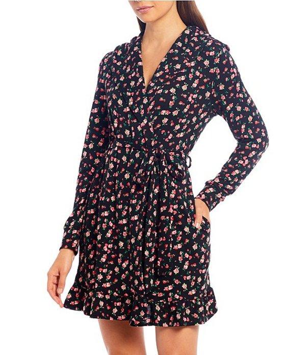 ベッツィジョンソン レディース ナイトウェア アンダーウェア Floral Print Hooded Short Wrap Robe Black/Multi