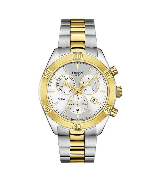 ティソット メンズ 腕時計 アクセサリー PR 100 Sport Chic Colorblock Chronograph Watch Two Tone