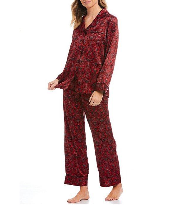 カベルネ レディース ナイトウェア アンダーウェア Damask Printed Satin Capri Pajama Set Tango Red