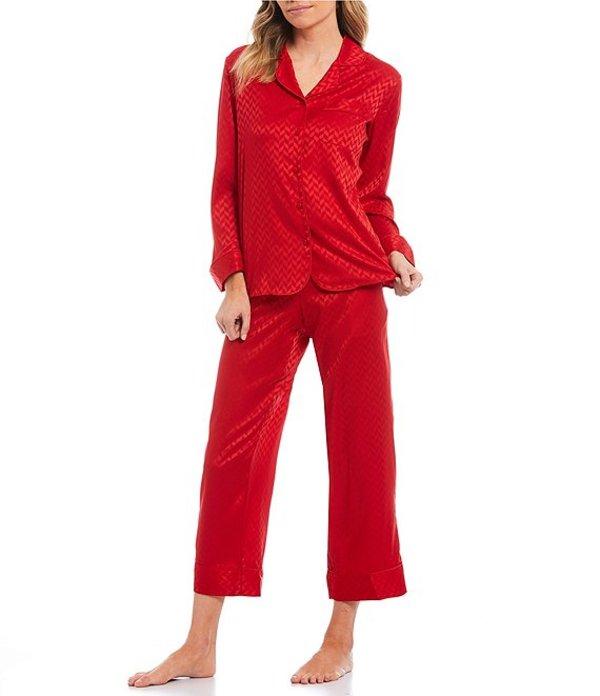カベルネ レディース ナイトウェア アンダーウェア Petite Jacquard Chevron Print Satin Capri Pajama Set Tango Red
