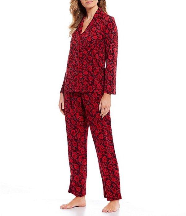 カベルネ レディース ナイトウェア アンダーウェア Petite Damask Printed Woven Pajama Set Tango Red