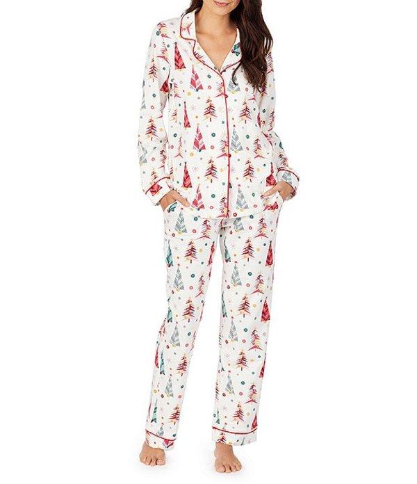 ベッドヘッド レディース ナイトウェア アンダーウェア Pajamas Christmas Tree Printed Knit Classic Pajama Set White/Multi