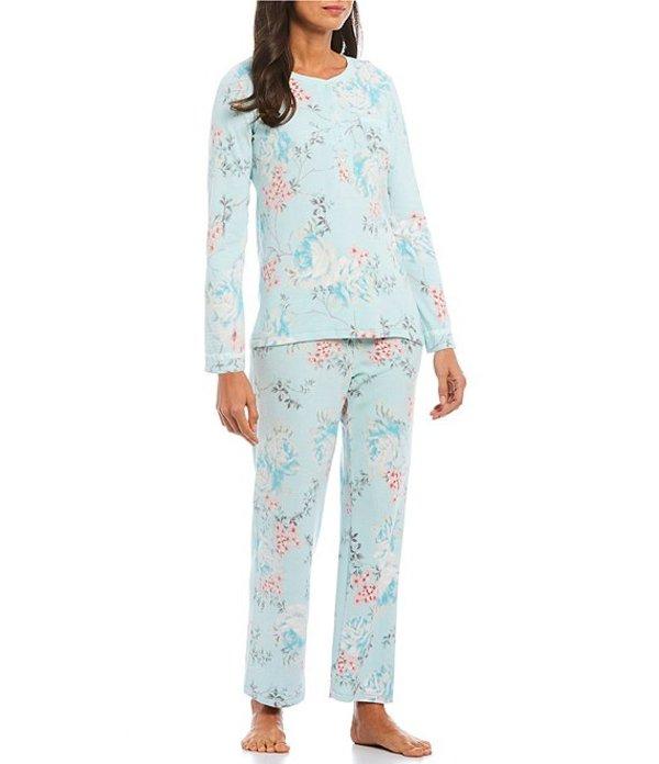 ミス エレーン レディース ナイトウェア アンダーウェア Brush Waffle Knit Floral Print Pajama Set Aqua/Multi