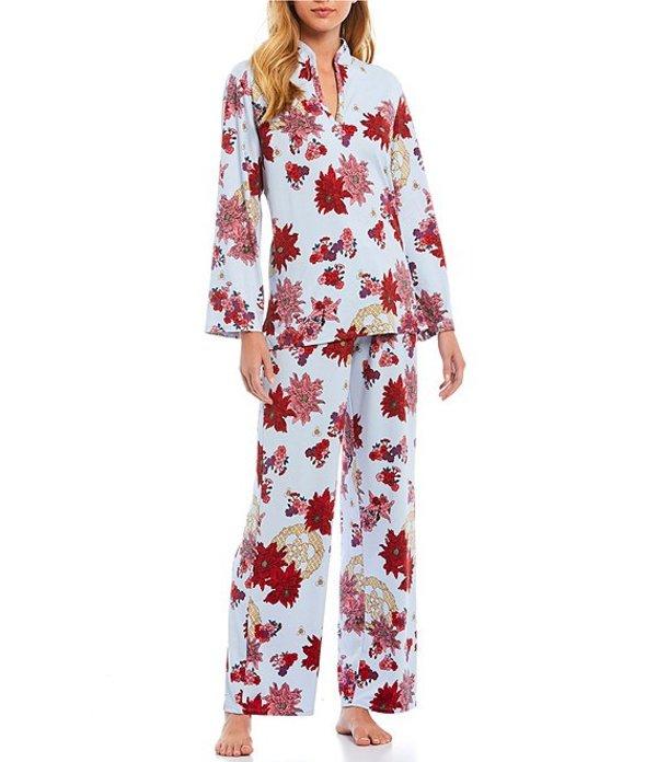 ナトリ レディース ナイトウェア アンダーウェア Floral Medallion Cozy Knit Pajama Set Red/Baby Blue