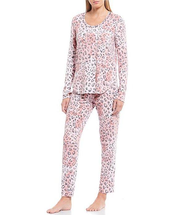 ジョシー レディース ナイトウェア アンダーウェア Leopard Print Peach Knit Pajama Set Pink