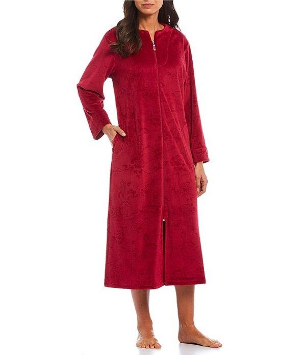 ミス エレーン レディース ナイトウェア アンダーウェア Micro Fleece Floral Embossed Zip-Front Long Robe Craneberry