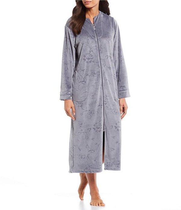 ミス エレーン レディース ナイトウェア アンダーウェア Micro Fleece Floral Embossed Zip-Front Long Robe Grey