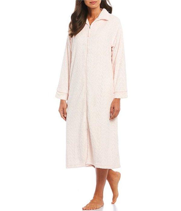 ミス エレーン レディース ナイトウェア アンダーウェア Petite French Fleece Embossed Print Zip Front Long Robe Pearl Pink