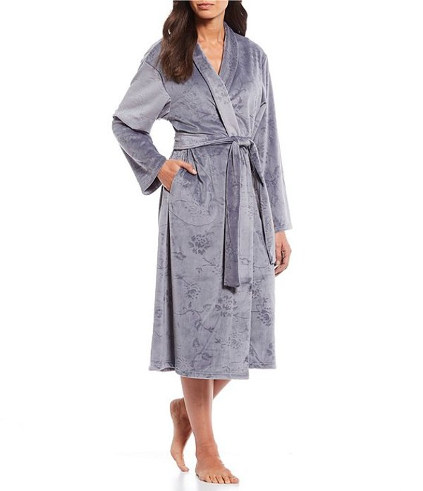 ミス エレーン レディース ナイトウェア アンダーウェア Micro Fleece Floral Embossed Long Wrap Robe Steel Grey