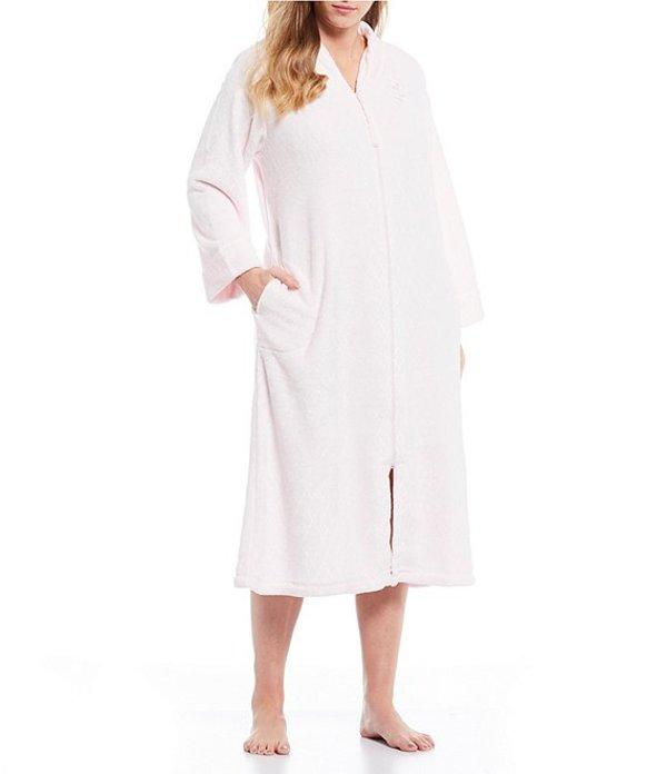 ミス エレーン レディース ナイトウェア アンダーウェア Plus Solid Fleece Zip-Front Long Robe Pink