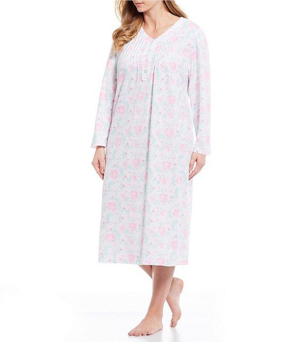 ミス エレーン レディース ナイトウェア アンダーウェア Plus Abstract Floral Print Honeycomb Knit Long Night Gown Pink
