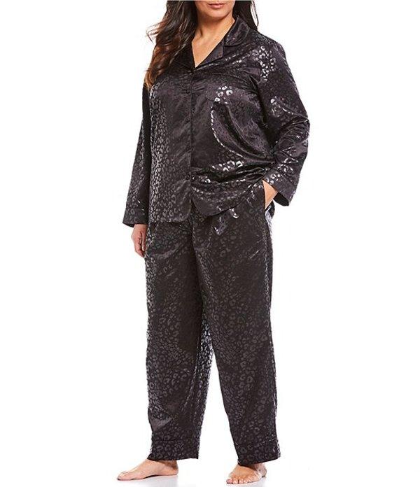 カベルネ レディース ナイトウェア アンダーウェア Plus Satin Leopard Print Pajama Set Black