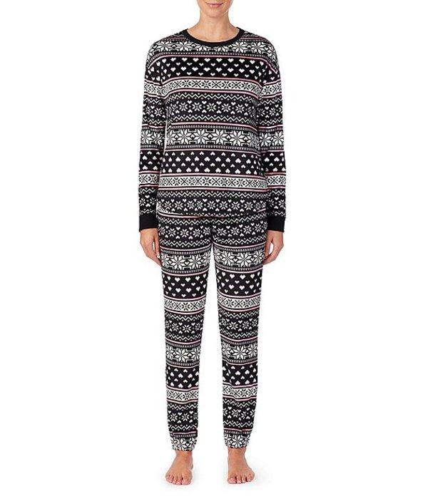 ケンジー レディース ナイトウェア アンダーウェア Heart & Snowflake Fair Isle-Printed Velour Pajama Set Black/Multi
