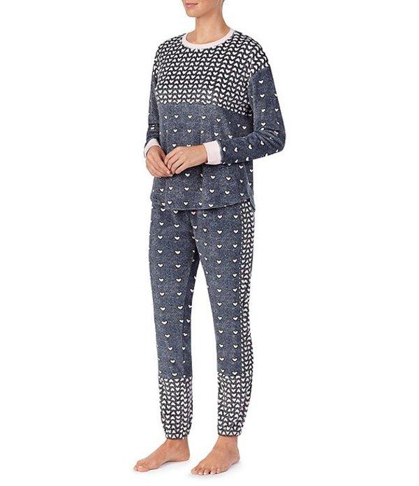 ケンジー レディース ナイトウェア アンダーウェア Heart-Printed Velour Pajama Set Dark Grey/Multi