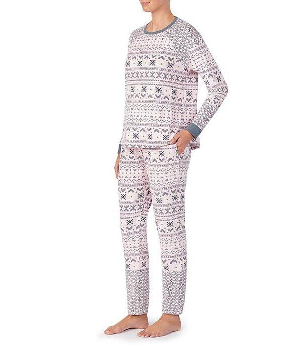 ケンジー レディース ナイトウェア アンダーウェア Fair Isle Printed Velour Pajama Set Pink/Grey