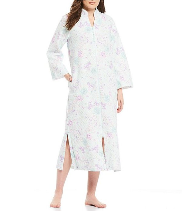 ミス エレーン レディース ナイトウェア アンダーウェア Quilt-In-Knit Floral-Print Zip-Front Long Robe Lavender/Pink