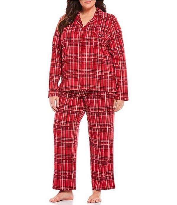 カベルネ レディース ナイトウェア アンダーウェア Plus Plaid Print Woven Pajama Set Tango Red