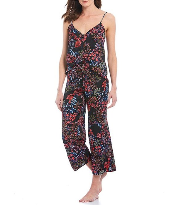 ジョシー レディース ナイトウェア アンダーウェア Wonderland Floral-Printed Satin Pajama Set Black/Pink