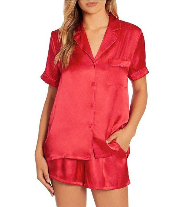 インブルーム レディース ナイトウェア アンダーウェア In Bloom By Jonquil Solid Satin Shorty Pajama Set Red