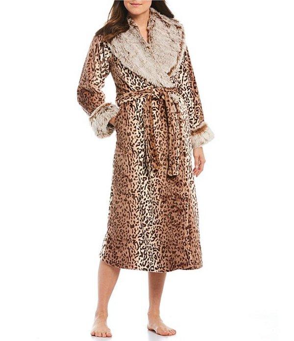 カベルネ レディース ナイトウェア アンダーウェア Leopard Print Plush Fleece Long Wrap Robe Cream Pearl
