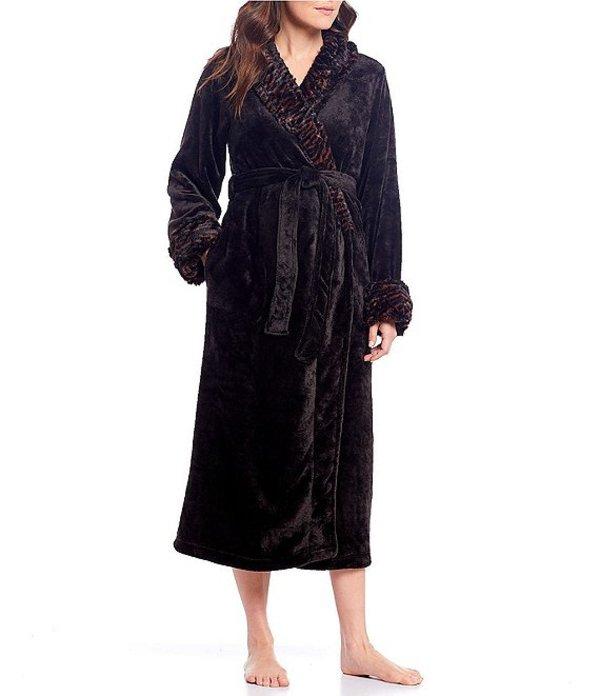 カベルネ レディース ナイトウェア アンダーウェア Plush Fleece Long Wrap Robe Black