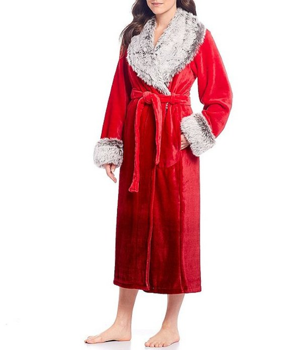 カベルネ レディース ナイトウェア アンダーウェア Plush Fleece Long Wrap Robe Tango Red