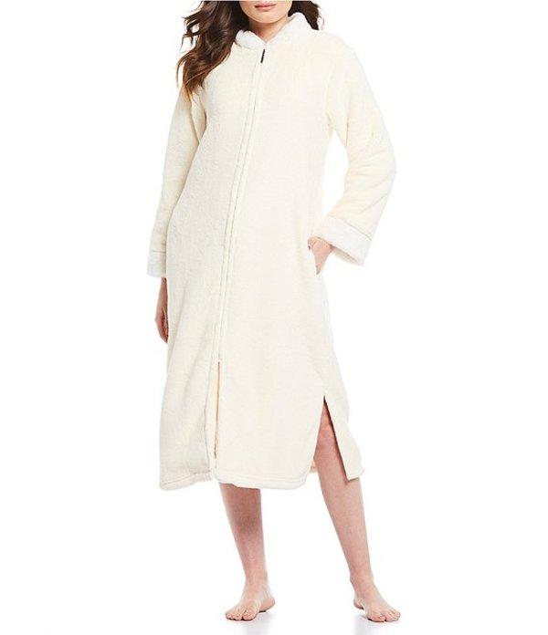 カベルネ レディース ナイトウェア アンダーウェア Plush Fleece Zip-Front Long Robe Butter Cream