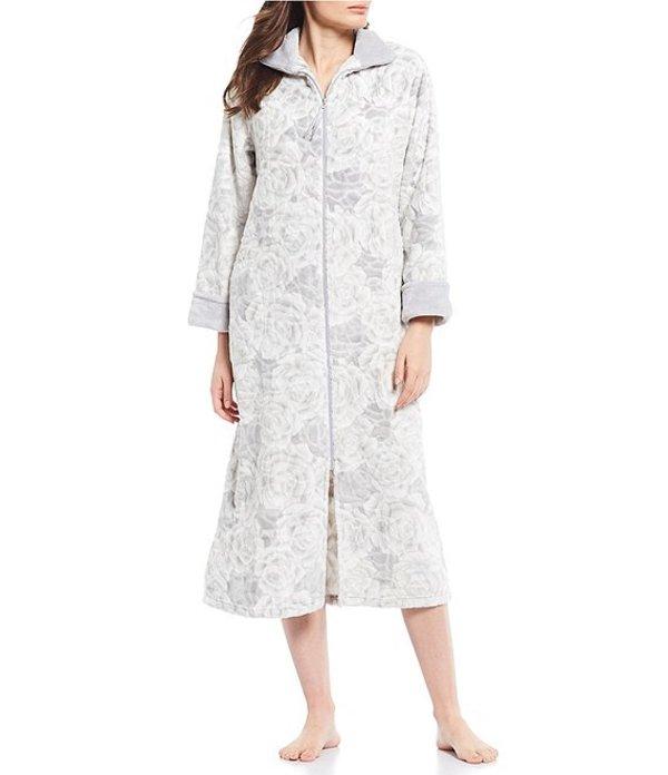 ミス エレーン レディース ナイトウェア アンダーウェア French Fleece Rose Print Zip-Front Long Robe Grey Rose