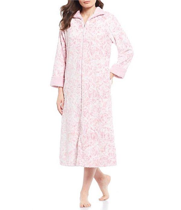 ミス エレーン レディース ナイトウェア アンダーウェア French Fleece Rose Print Zip-Front Long Robe Pink Rose