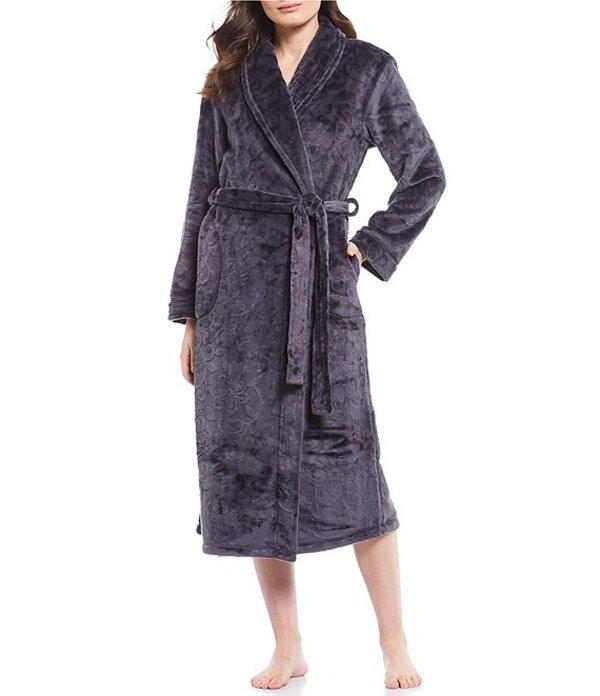 ミス エレーン レディース ナイトウェア アンダーウェア Burn Out Shimmer Floral Print Fleece Long Wrap Robe Pewter