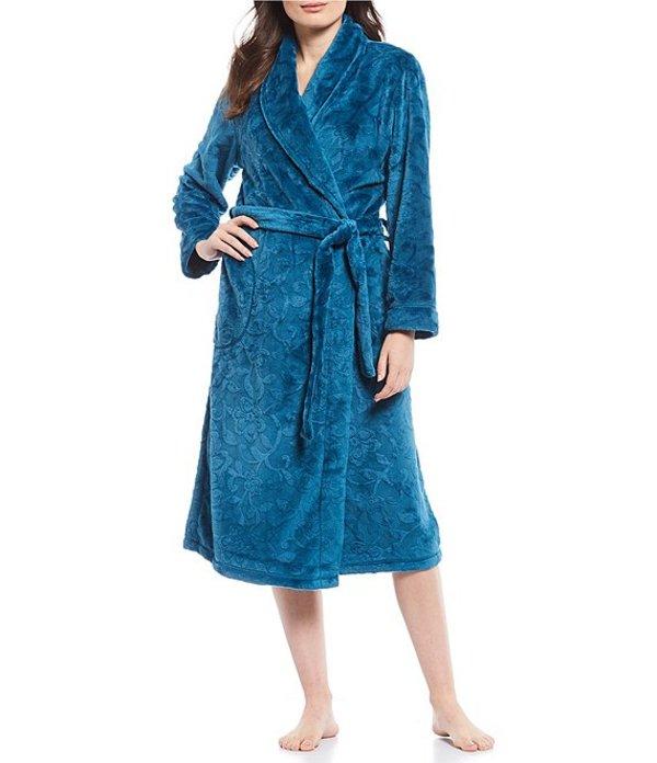 ミス エレーン レディース ナイトウェア アンダーウェア Burn Out Shimmer Floral Print Fleece Long Wrap Robe Teal