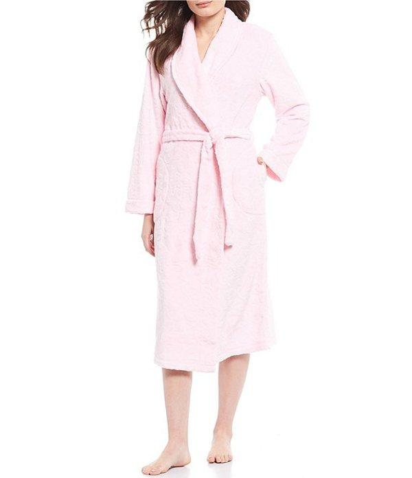ミス エレーン レディース ナイトウェア アンダーウェア Petite Burn Out Shimmer Floral Print Fleece Long Wrap Robe Pink