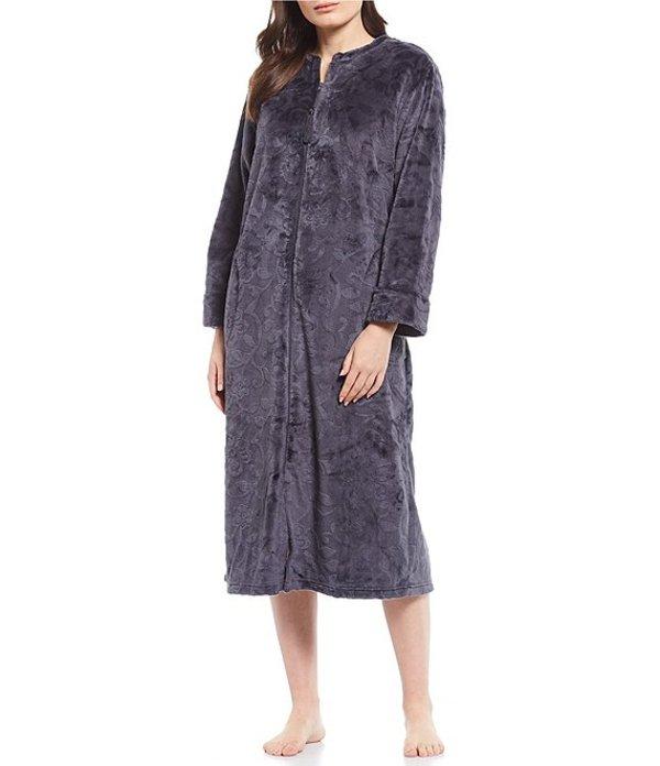 ミス エレーン レディース ナイトウェア アンダーウェア Burn Out Shimmer Fleece Long Zip-Front Long Robe Pewter