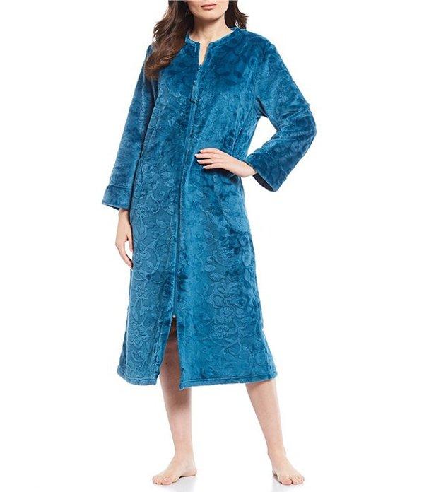 ミス エレーン レディース ナイトウェア アンダーウェア Burn Out Shimmer Fleece Long Zip-Front Long Robe Teal