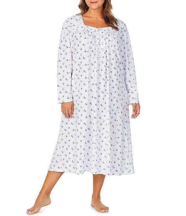 エイレーンウェスト レディース ナイトウェア アンダーウェア Plus Floral-Printed Jersey Knit Ballet Nightgown Purple/White