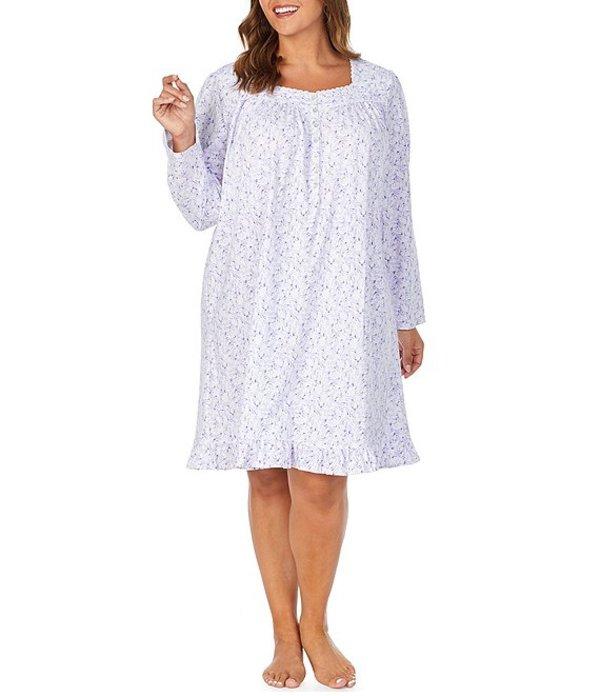 エイレーンウェスト レディース ナイトウェア アンダーウェア Plus Floral Print Jersey Knit Short Nightgown White