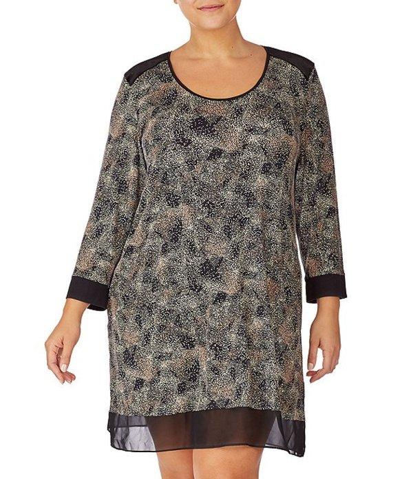 ダナキャラン レディース ナイトウェア アンダーウェア Plus Printed Jersey Knit Sleep Shirt Black