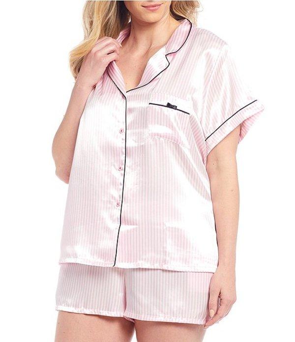 インブルーム レディース ナイトウェア アンダーウェア In Bloom By Jonquil Plus Striped Print Satin Shorty Pajama Set Pink/Ivory