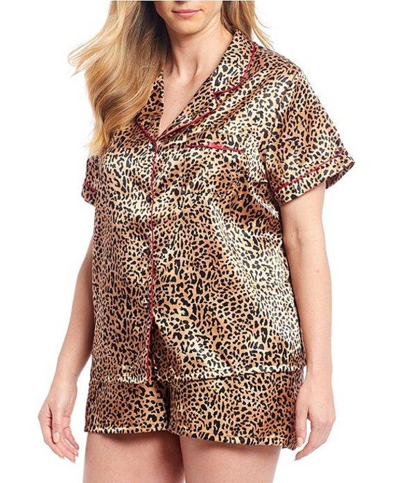 インブルーム レディース ナイトウェア アンダーウェア In Bloom By Jonquil Plus Leopard Printed Satin Shorty Pajama Set Multi