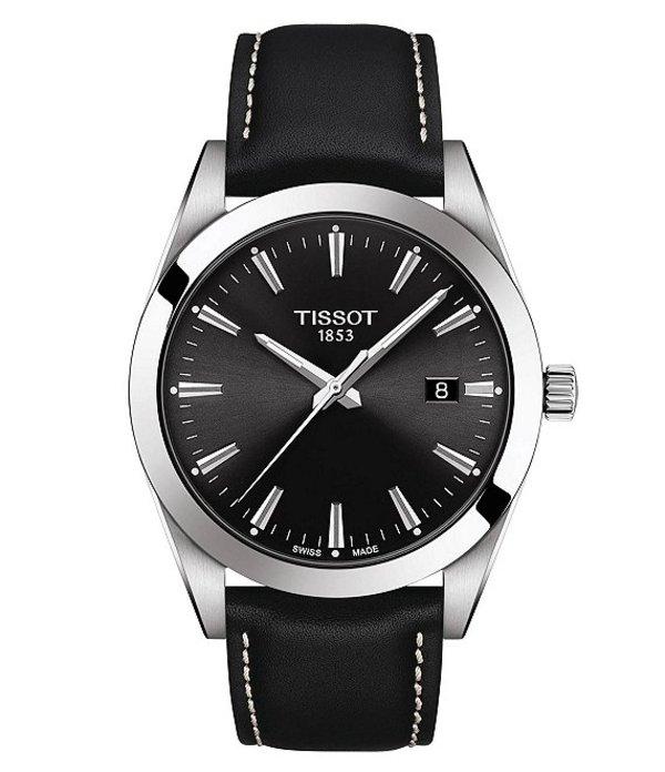 ティソット メンズ 腕時計 アクセサリー Gentleman Black Leather Strap Watch Black