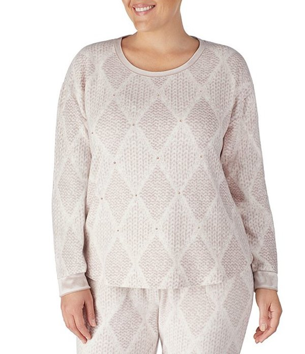 ケンジー レディース ナイトウェア アンダーウェア Plus Diamond Cable-Knit Velour Sleep Top Ivory/Multi