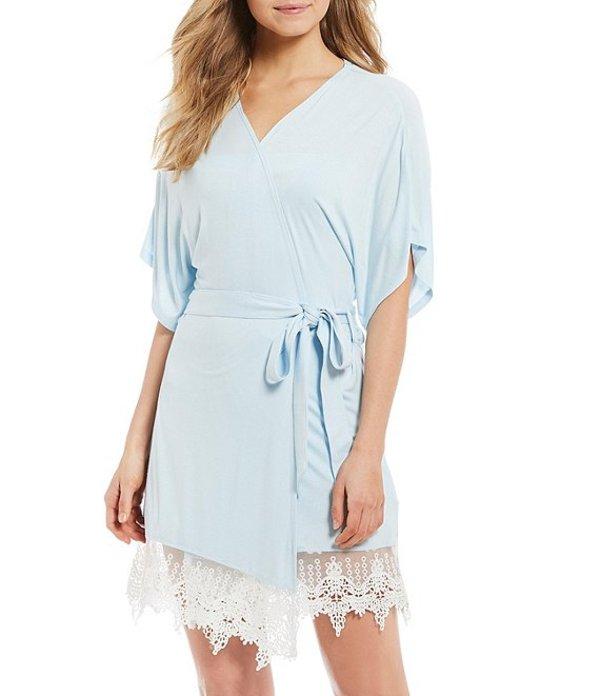 スプレンディット レディース ナイトウェア アンダーウェア Lace & Knit Short Wrap Robe Dreamy Blue