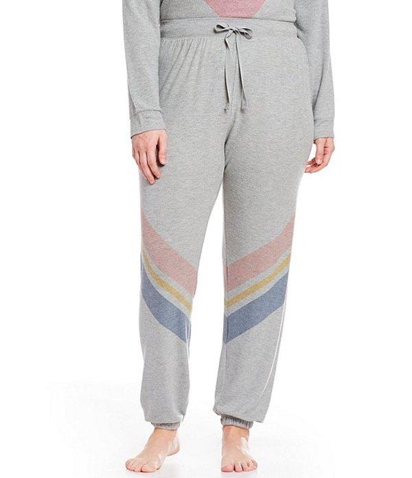 ピージェイサルベージ レディース ナイトウェア アンダーウェア Plus Diagonal Striped-Print Jersey Jogger Sleep Pants Heather Grey
