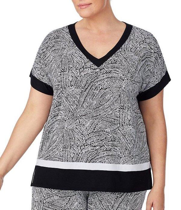ダナキャラン レディース ナイトウェア アンダーウェア Plus Elemental Printed Jersey Sleep Top Black/Multi
