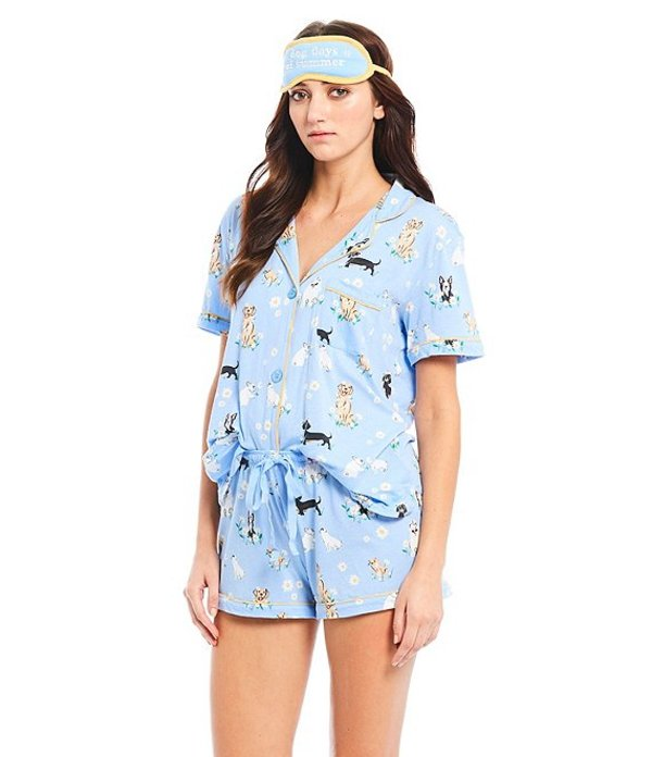 ピージェイサルベージ レディース ナイトウェア アンダーウェア Dog-Print Knit Pajama Short and Eye Mask Set Blue