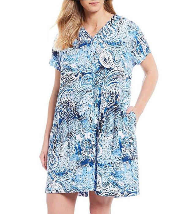 ミス エレーン レディース ナイトウェア アンダーウェア Plus Interlock Knit Paisley Print Grip-Front Robe Navy Paisley