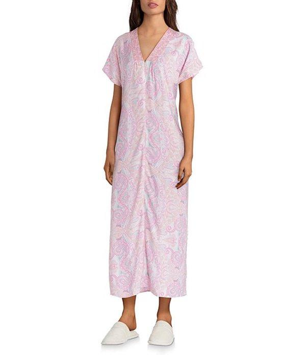ミス エレーン レディース ナイトウェア アンダーウェア Paisley Print Woven Long Caftan Pink Paisley
