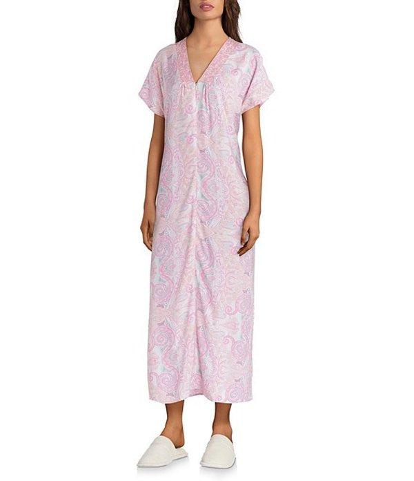 ミス エレーン レディース ナイトウェア アンダーウェア Petite Paisley Print Woven Long Caftan Pink/Coral