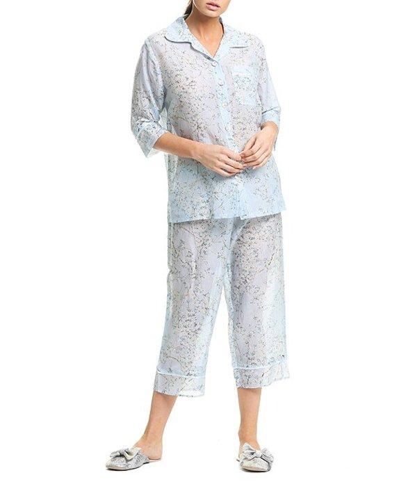 パピネール レディース ナイトウェア アンダーウェア Cherry Blossom Print Knit Blend Pajama Set Blue